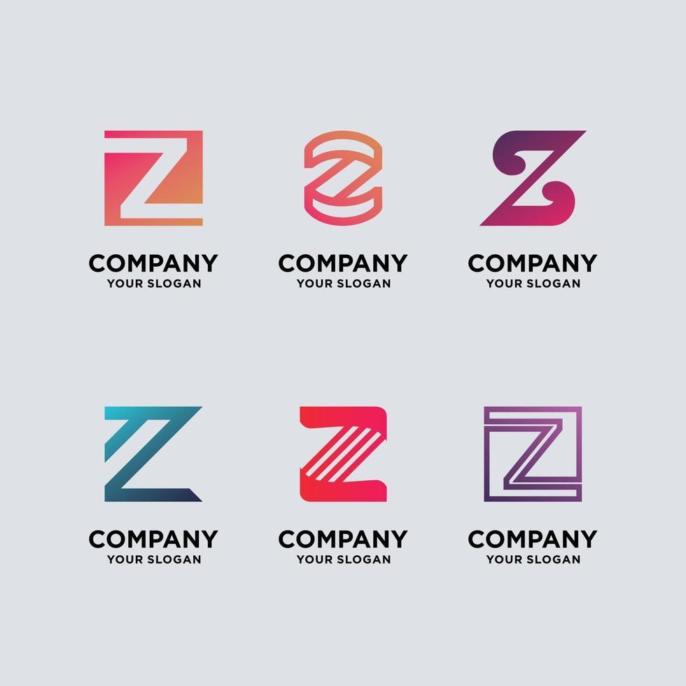 Establecer monograma letra z diseño de logotipo vector