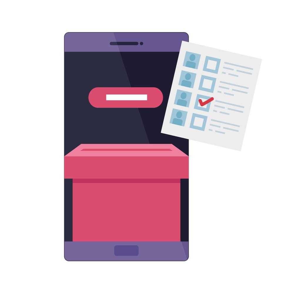 smartphone for vote online isolated icon vector