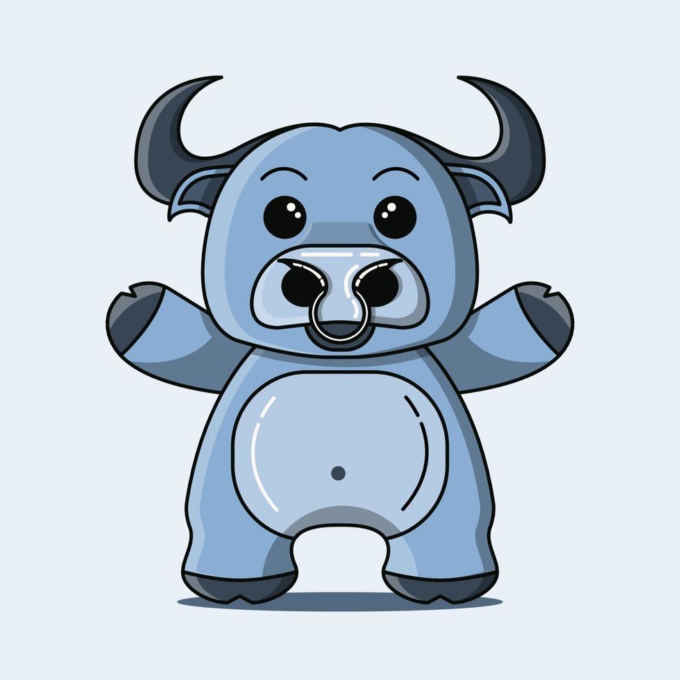 Cute buffalo mascot in blue color vector