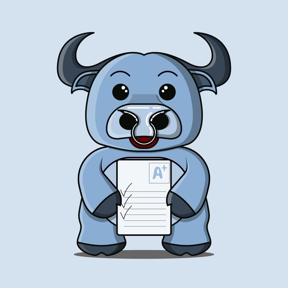 una linda mascota de búfalo azul que está feliz de obtener un puntaje positivo vector