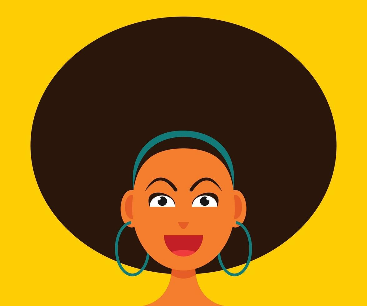 Woman Smiling Face with Afro Hair Style. vector