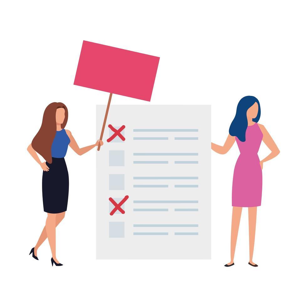mujeres de negocios, con, voto, formulario, aislado, icono vector