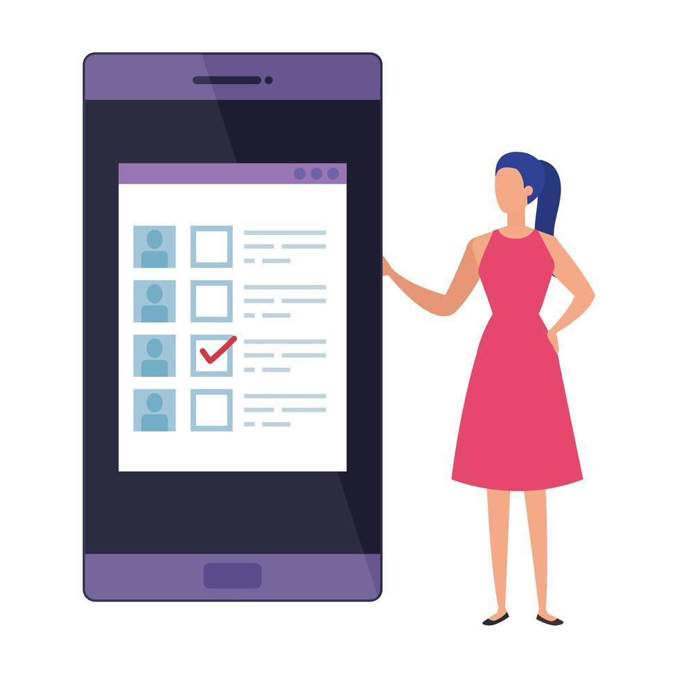 mujer de negocios, con, smartphone, para, voto, en línea vector