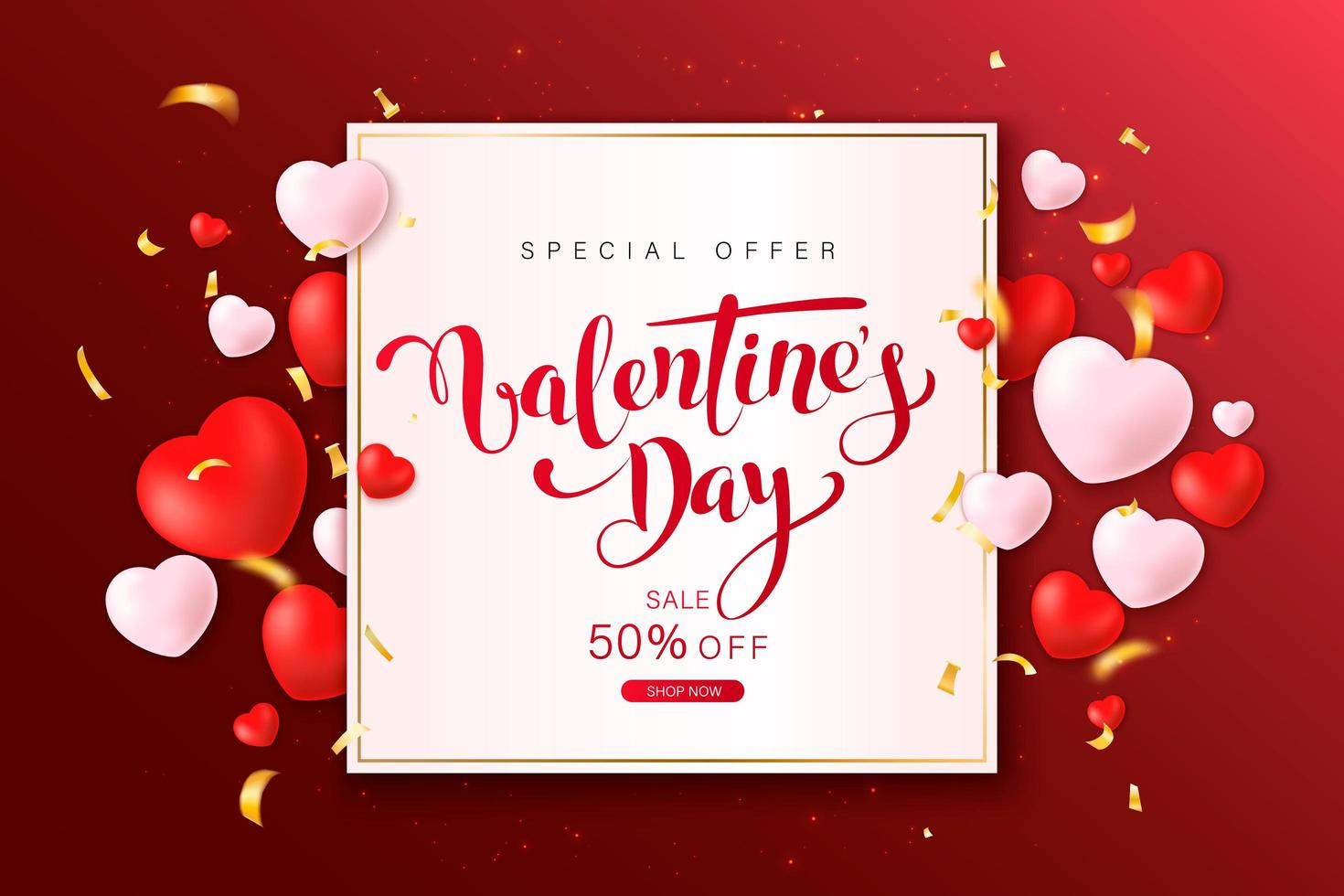 Happy Valentine's Day greeting card design vector