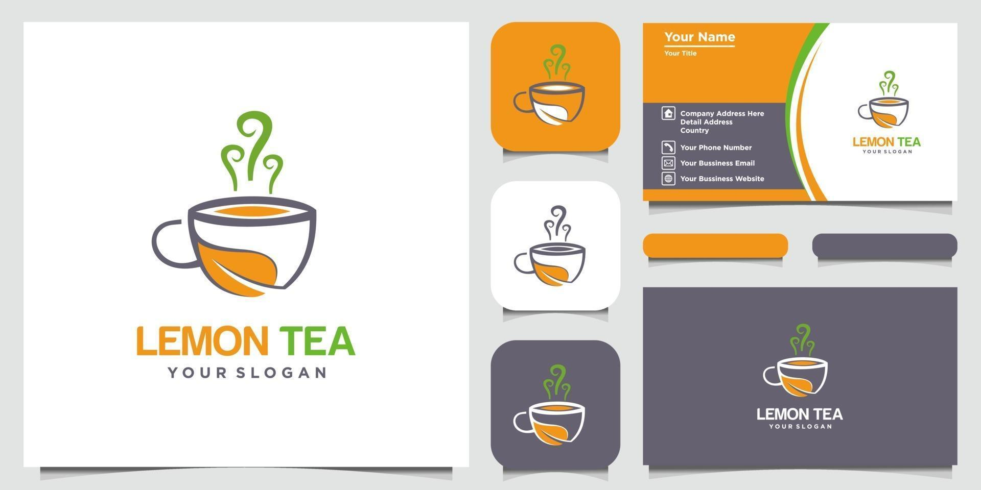 Lemon and tea cup abstract logo and business card design vector