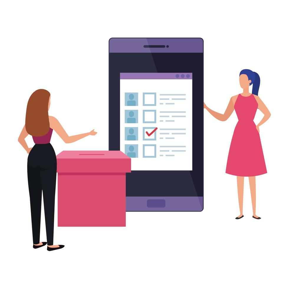 business women with ballot box and smartphone vector