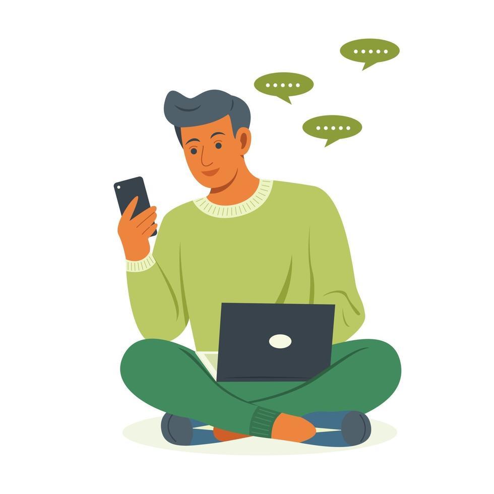 hombre independiente está trabajando con una computadora portátil y charlando en el teléfono móvil. vector