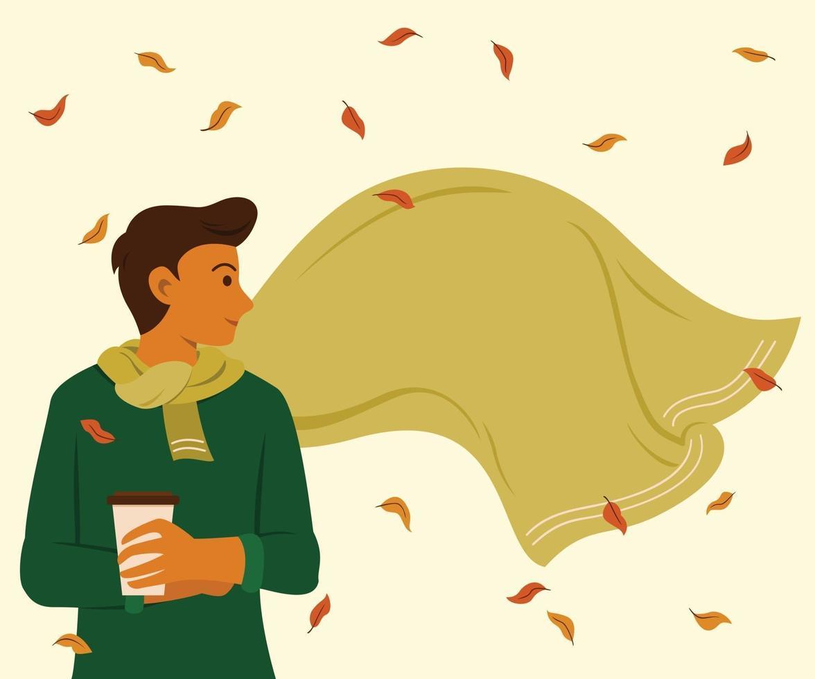 hombre con bufanda grande está al aire libre para la temporada de papel tapiz de otoño. vector