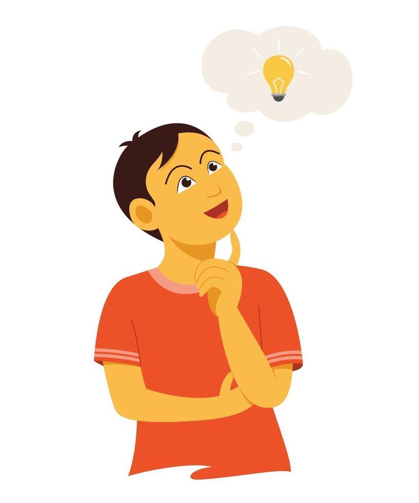 el chico está pensando en una buena idea. vector