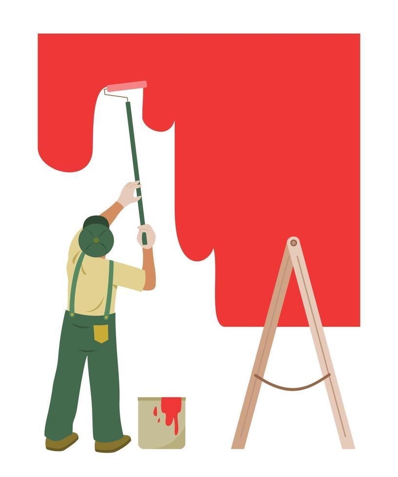 El hombre pinta la pared para renovarla. vector