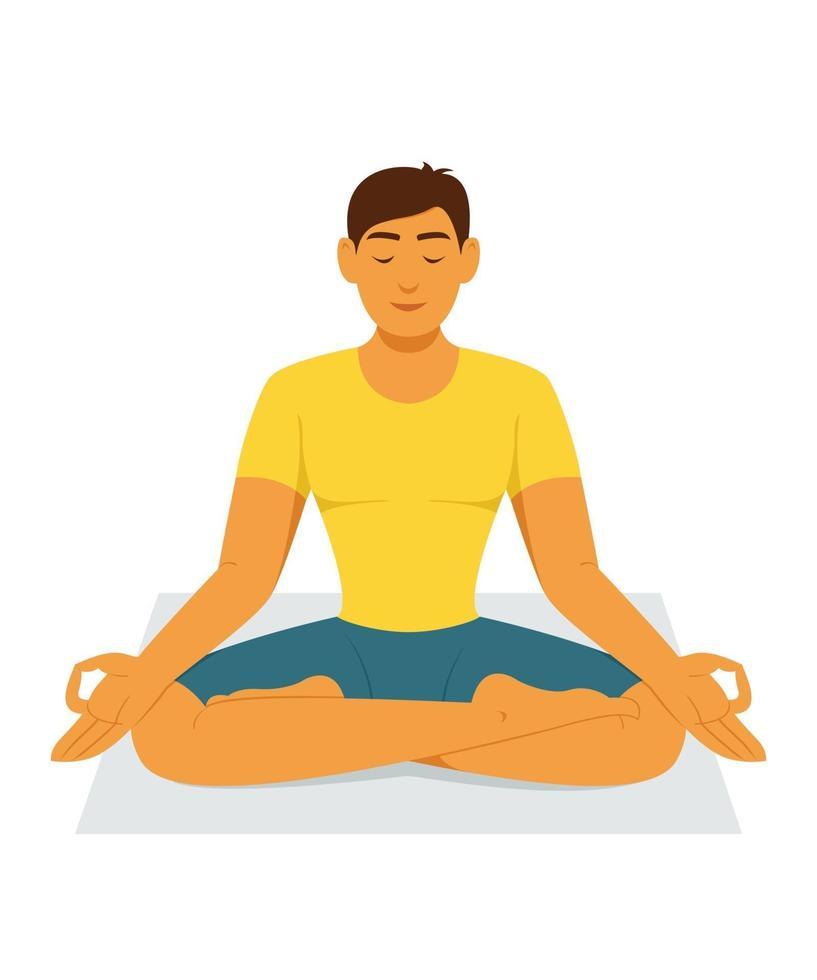 entrenamiento del hombre por la meditación del yoga. vector