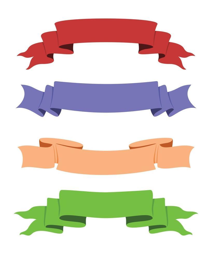 Cuatro estilos de cintas de colores para decoración. vector