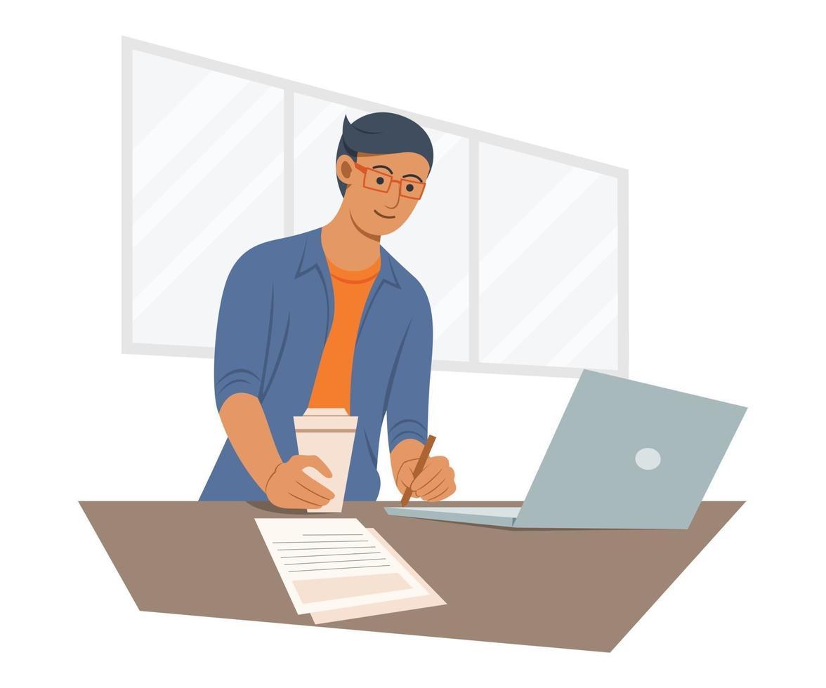 hombre independiente está trabajando en línea con la computadora portátil. vector