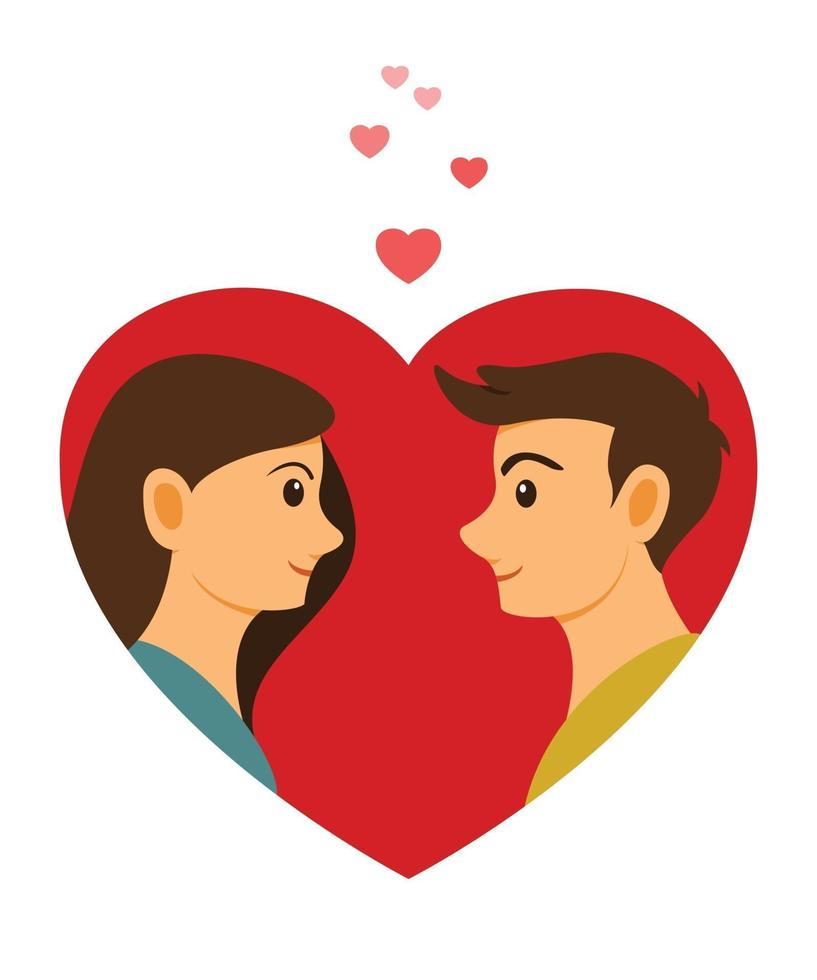 The Lover Man and Woman Face to Face in Big Heart. vector