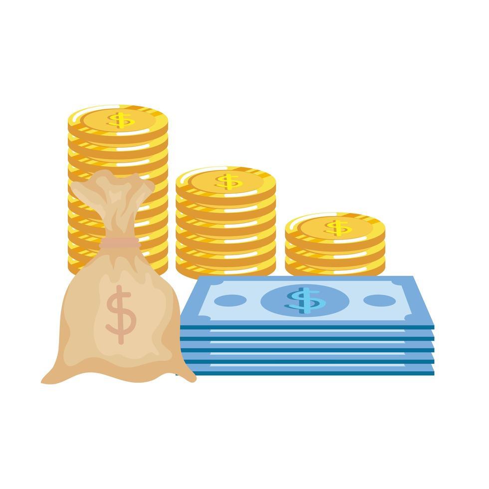 monedas dinero dólares con billetes y bolsa vector