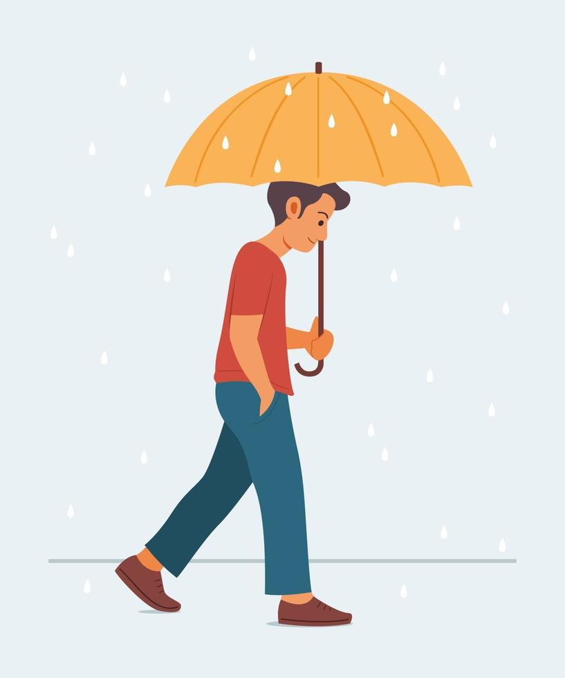Man Holds Umbrella and Enjoys Walking in the Rain. vector