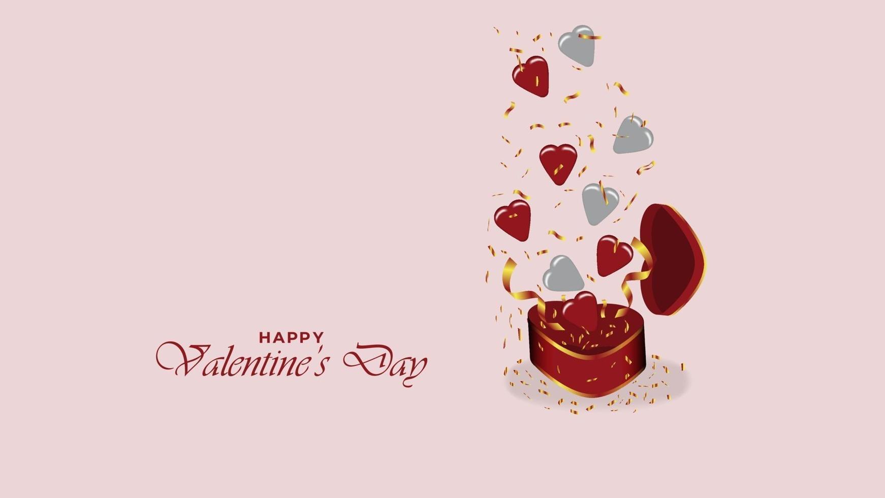 Fondo de feliz día de San Valentín con caja de regalo realista y objetos de diseño de símbolo de corazón vector