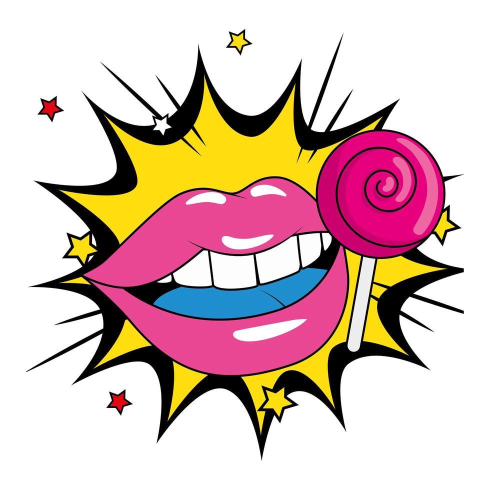 piruleta redonda retro con labios en explosión pop art vector
