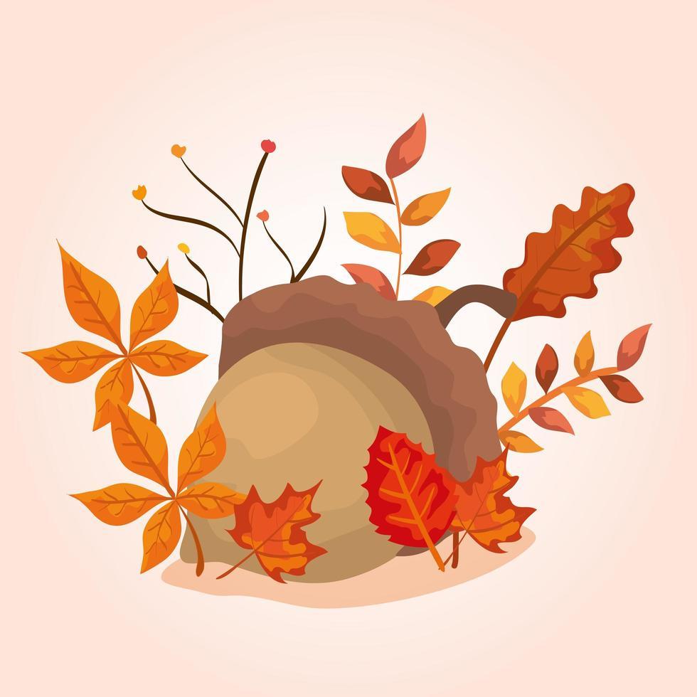 nuez con hojas de otoño vector