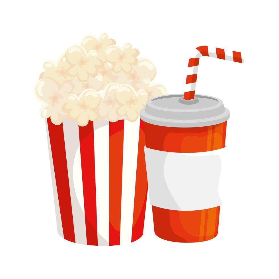 delicious popcorn in container with drink isolated icon vector
