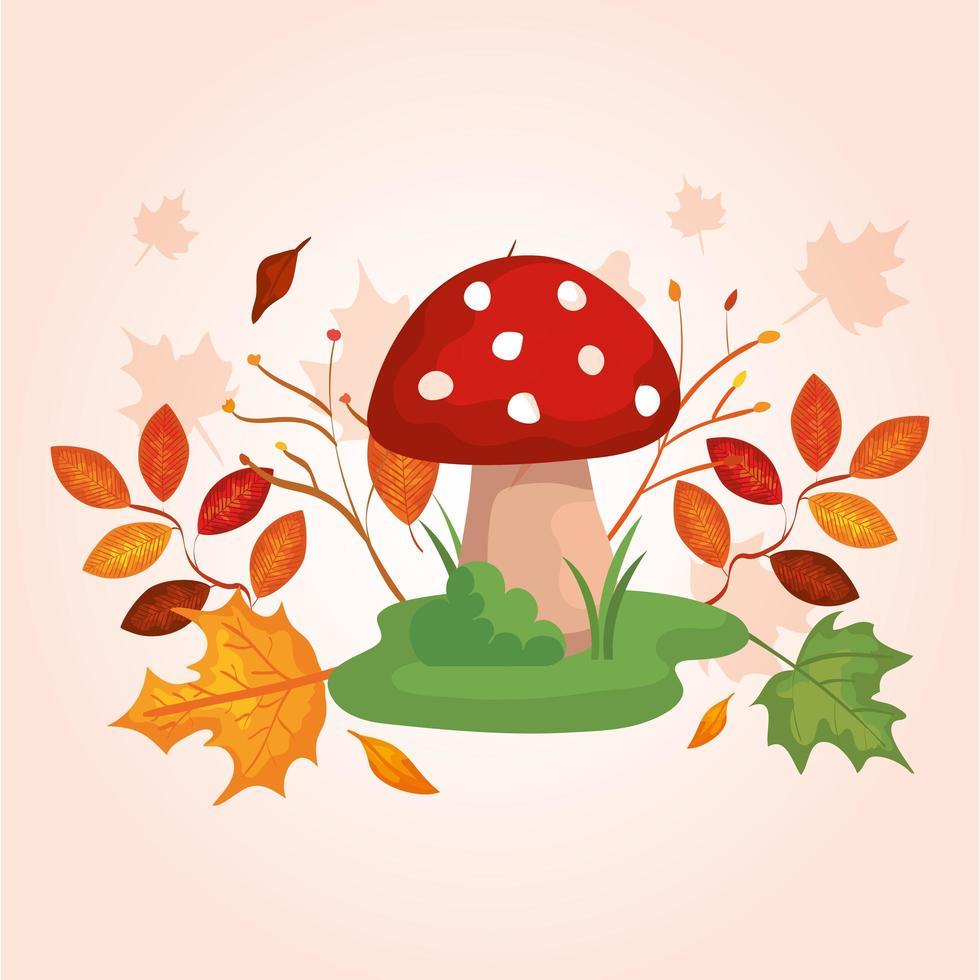 fungus with branches and leafs of autumn vector