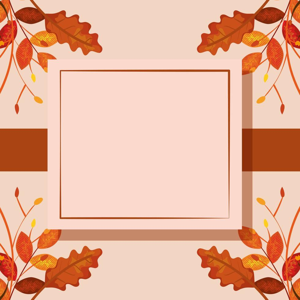 square frame with autumn leafs vector