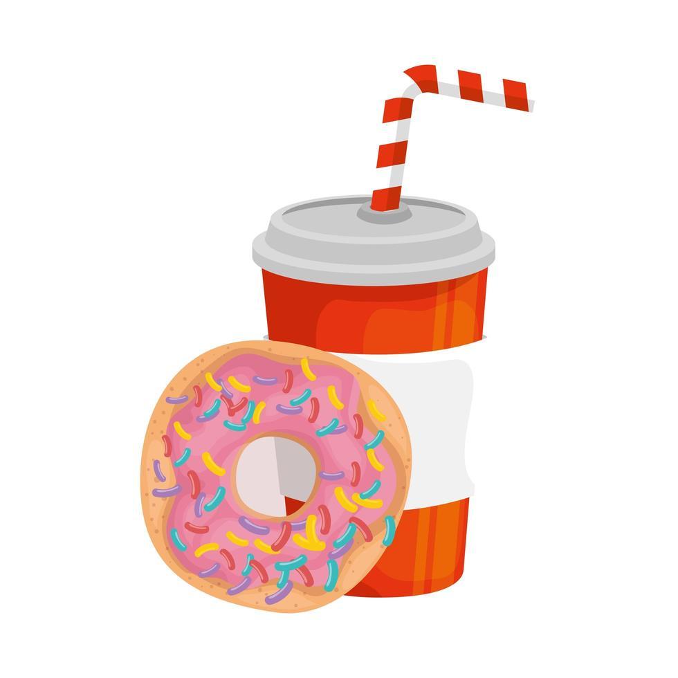 delicioso refresco con donut icono de comida rápida vector