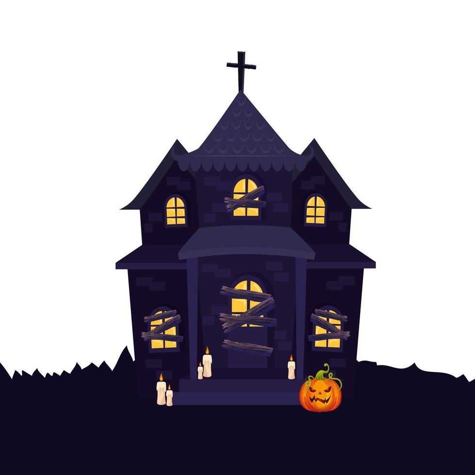casa embrujada de halloween con calabaza y velas vector