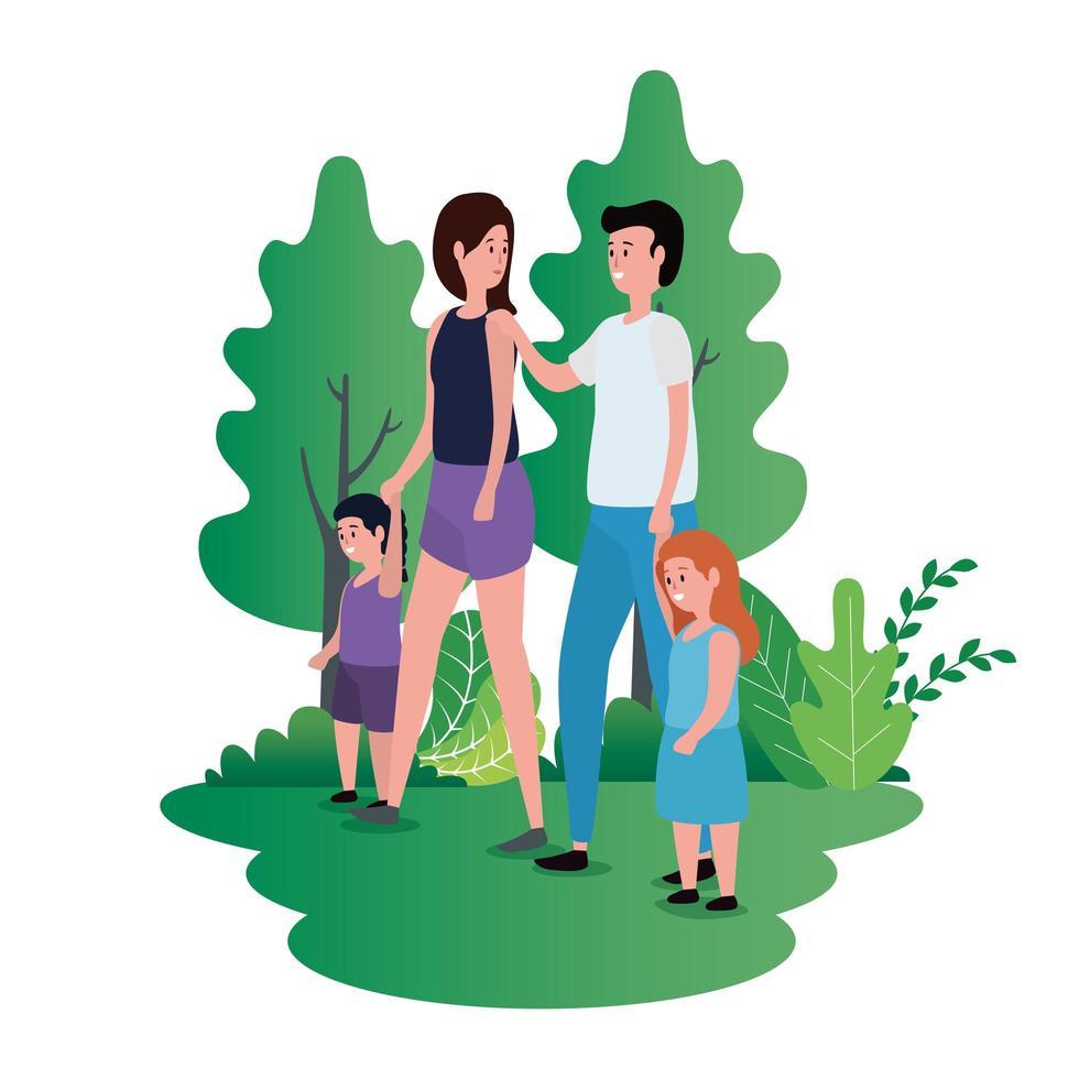 pareja de padres con hijas en el parque vector