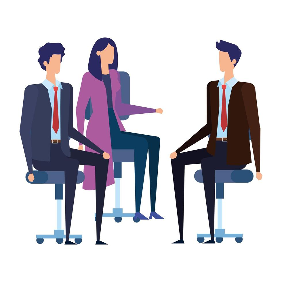 elegant business people workers in office chairs vector