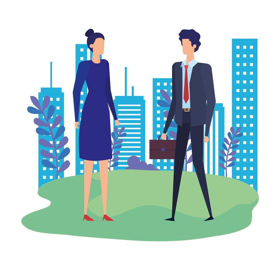 elegant business couple workers in the park vector