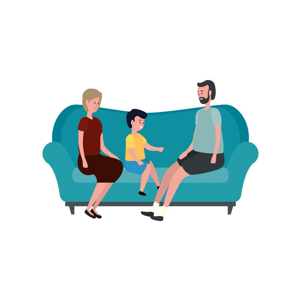 cute grandparents couple with grandson in the sofa vector