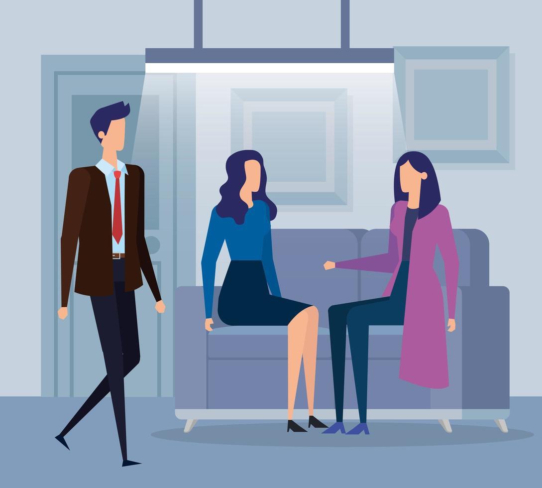 gente de negocios elegante trabajadores en la sala de estar vector