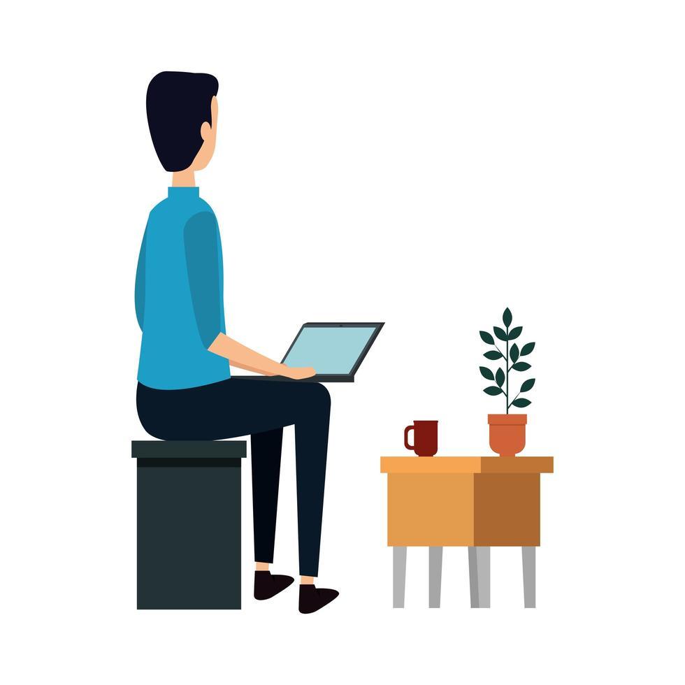 empresario usando laptop con cajón vector