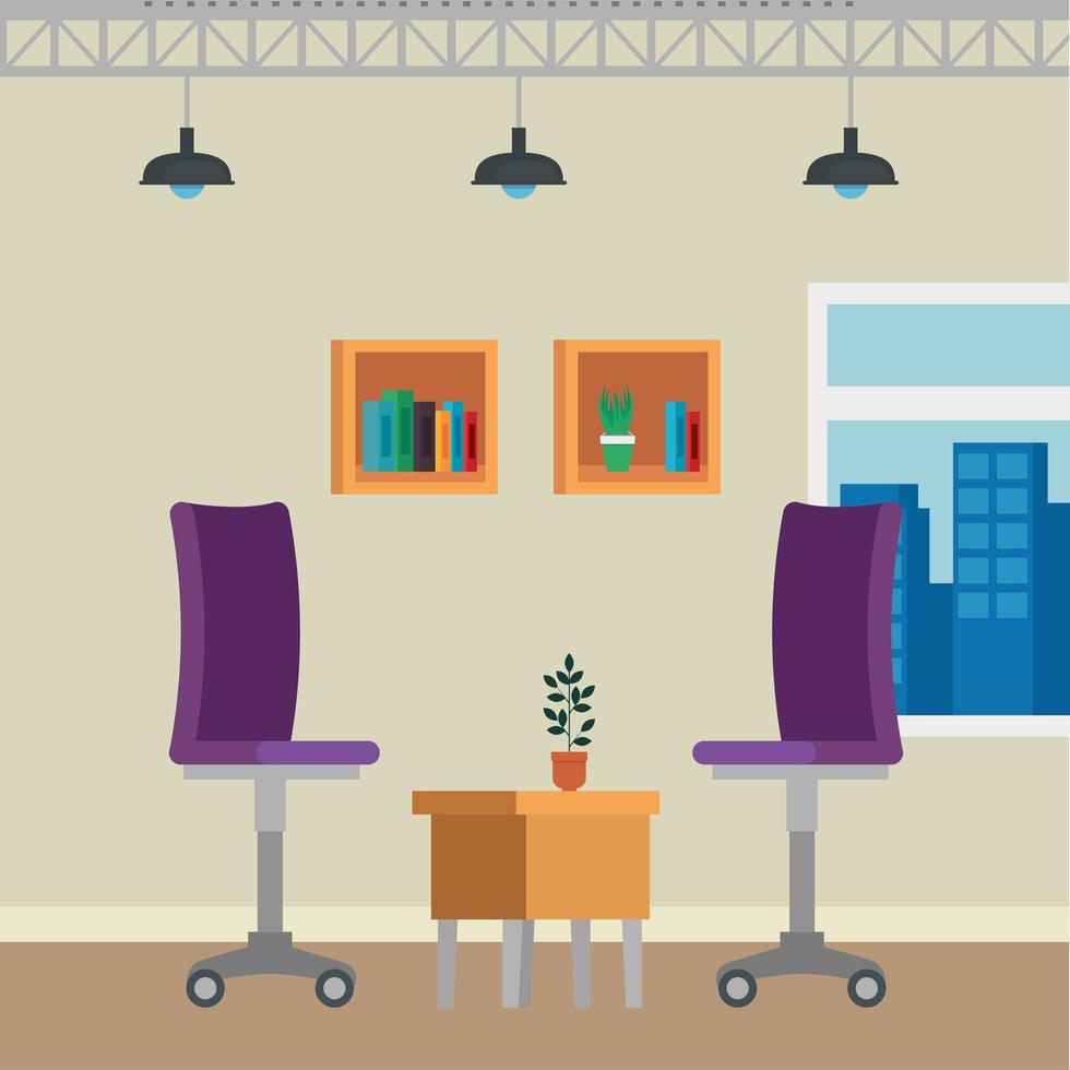 La oficina coloca escenas con sillas. vector