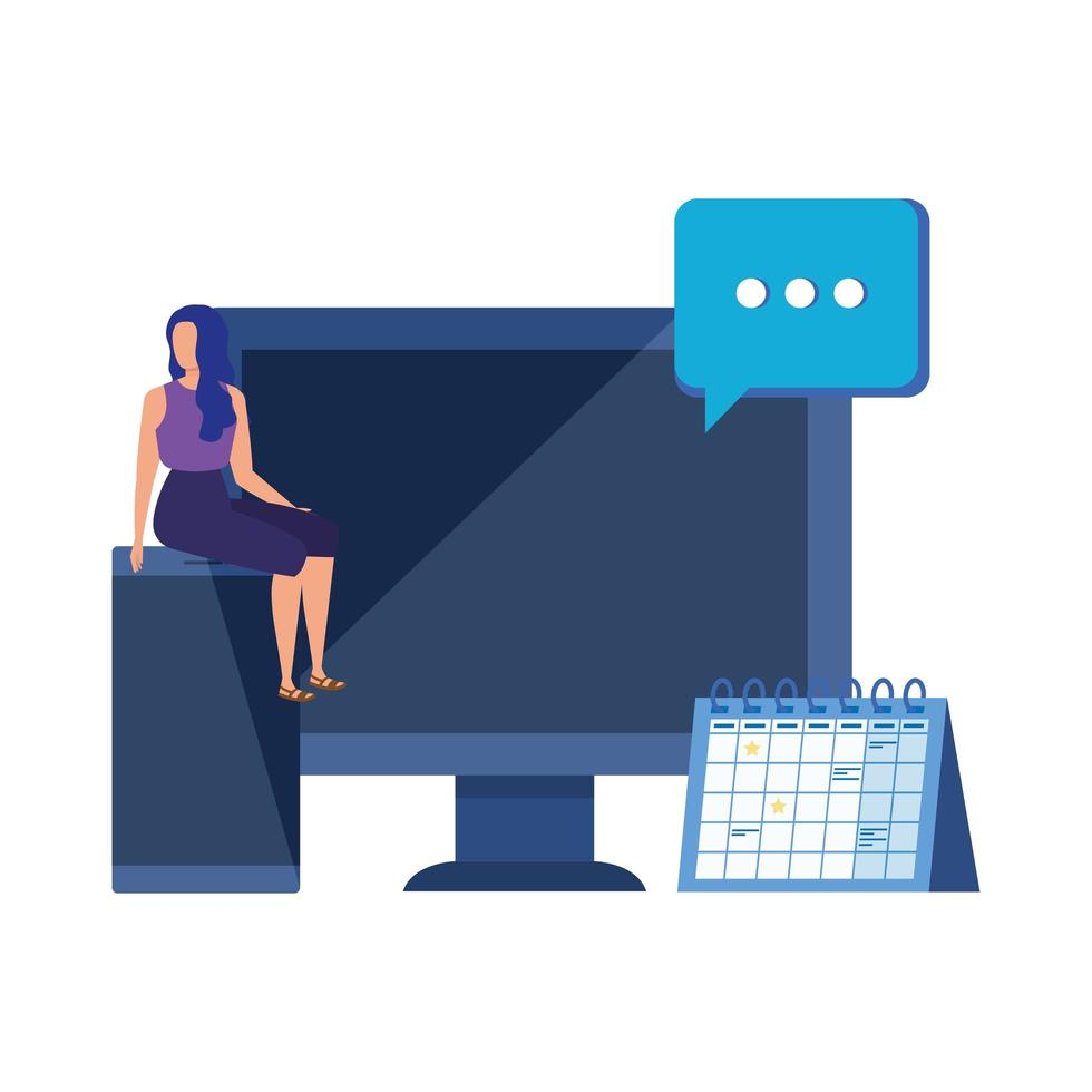 young woman with desktop character vector