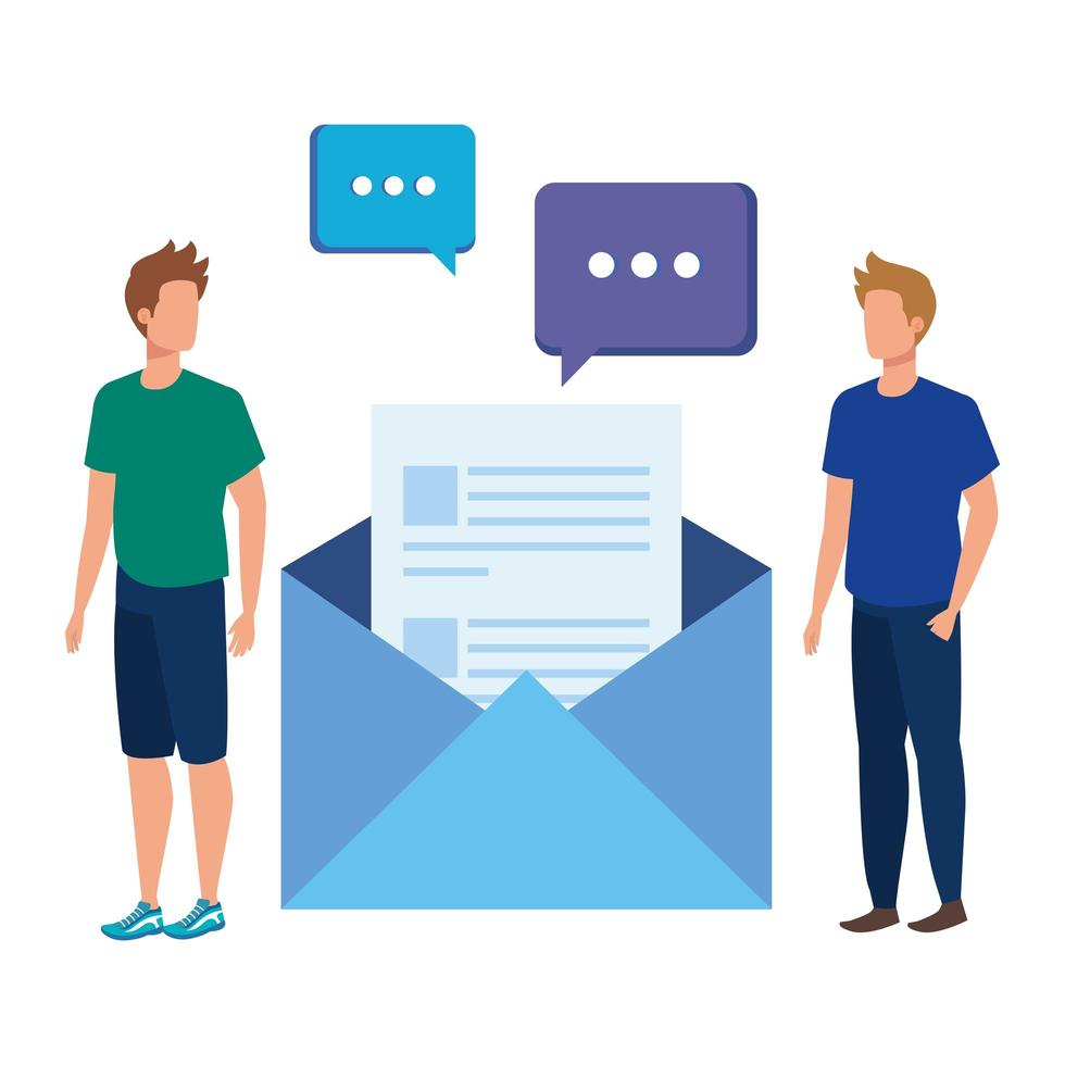 young men with envelope mail vector