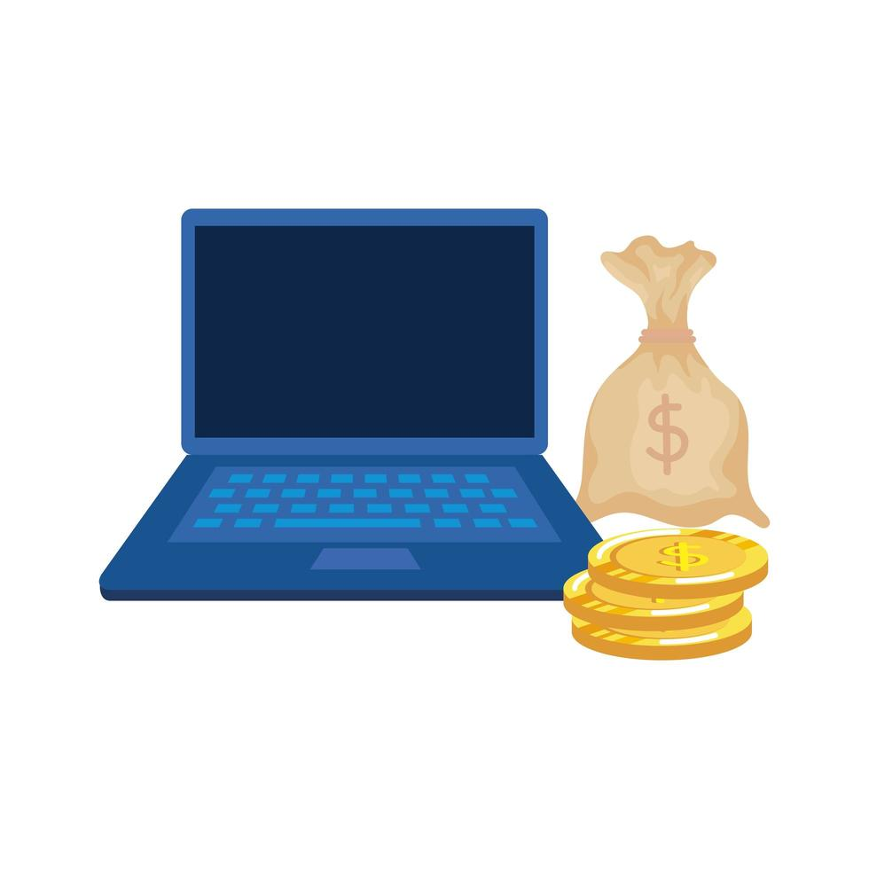 coins money dollars with laptop and sack vector