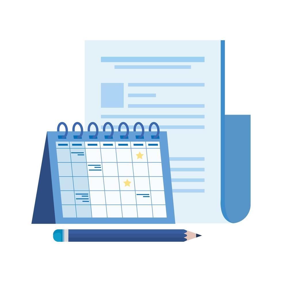 archivo de documento en papel con calendario vector