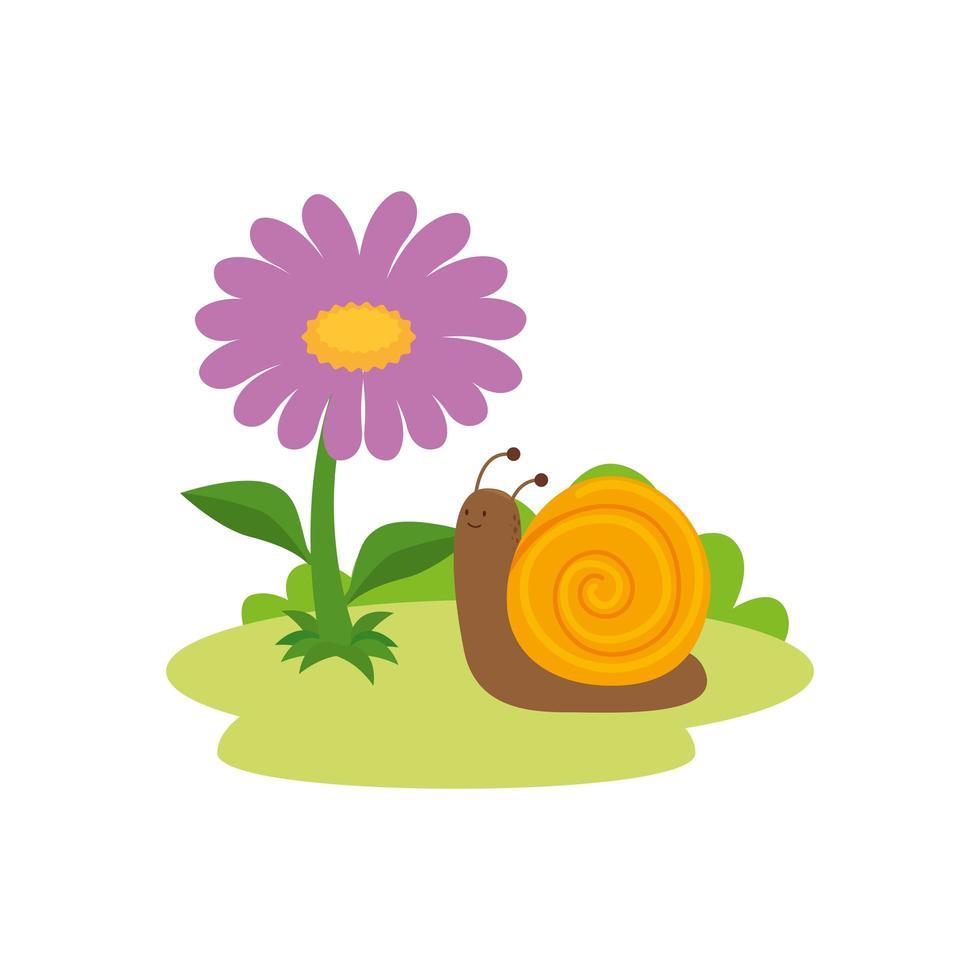 lindo, caracol, y, flor, jardín, animal, icono vector