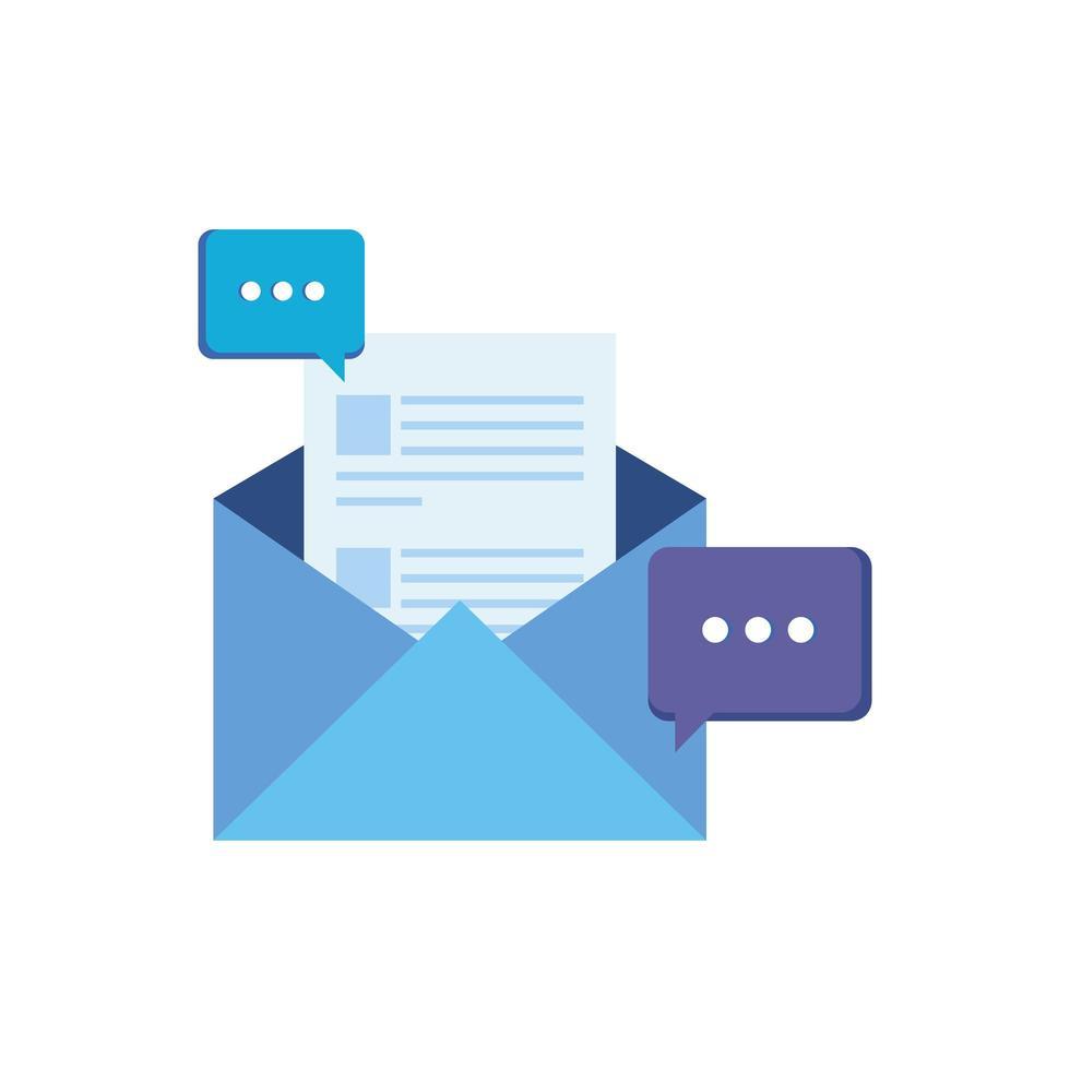 correo postal envolvente con bocadillos vector