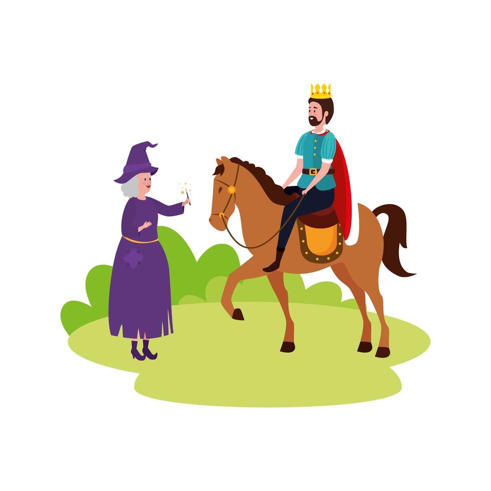 rey de cuento de hadas en caballo con bruja vector