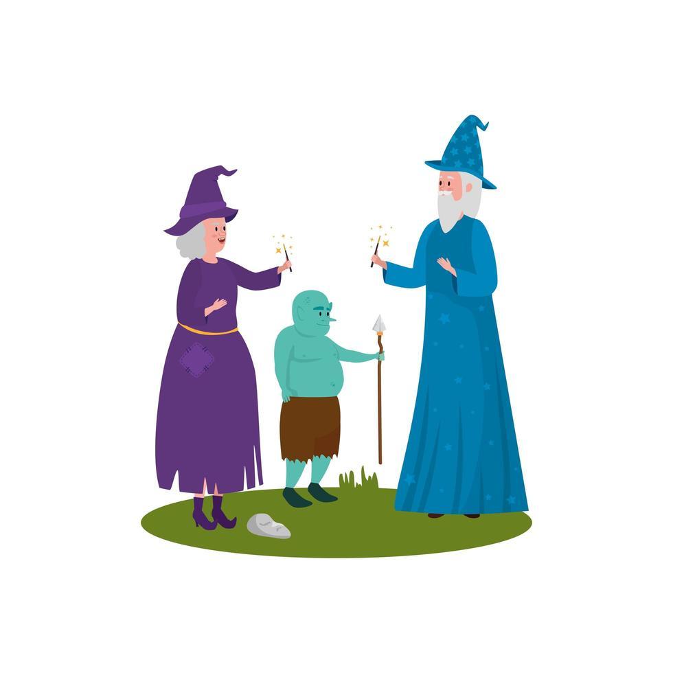 mago con personaje de avatar de bruja y ogro vector