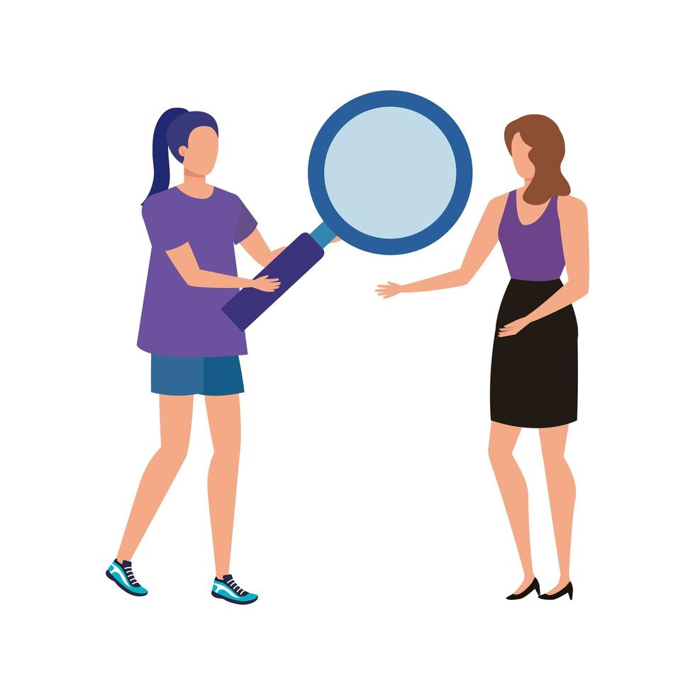 young women with magnifying glass characters vector