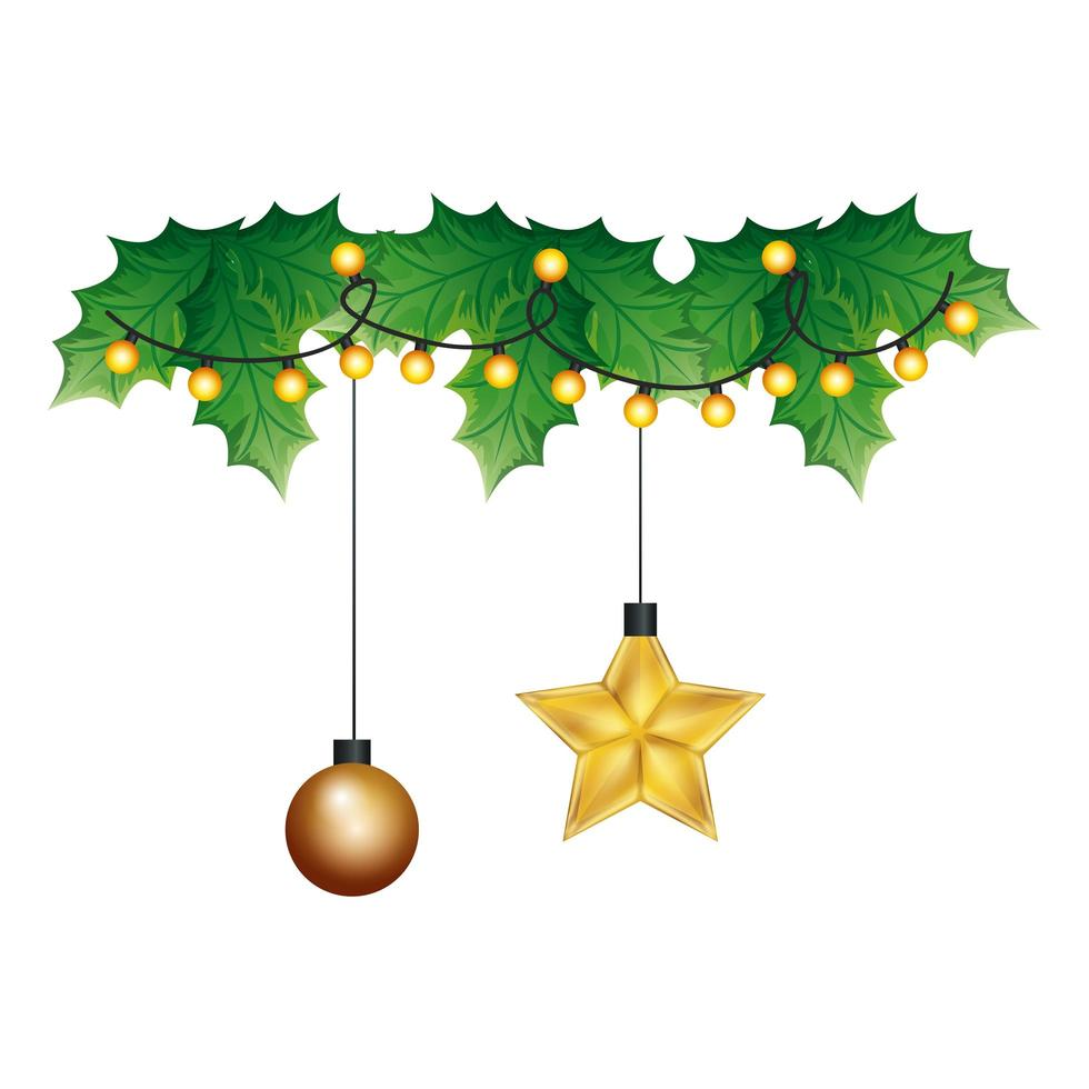 Bola con estrella colgando decoración navideña vector