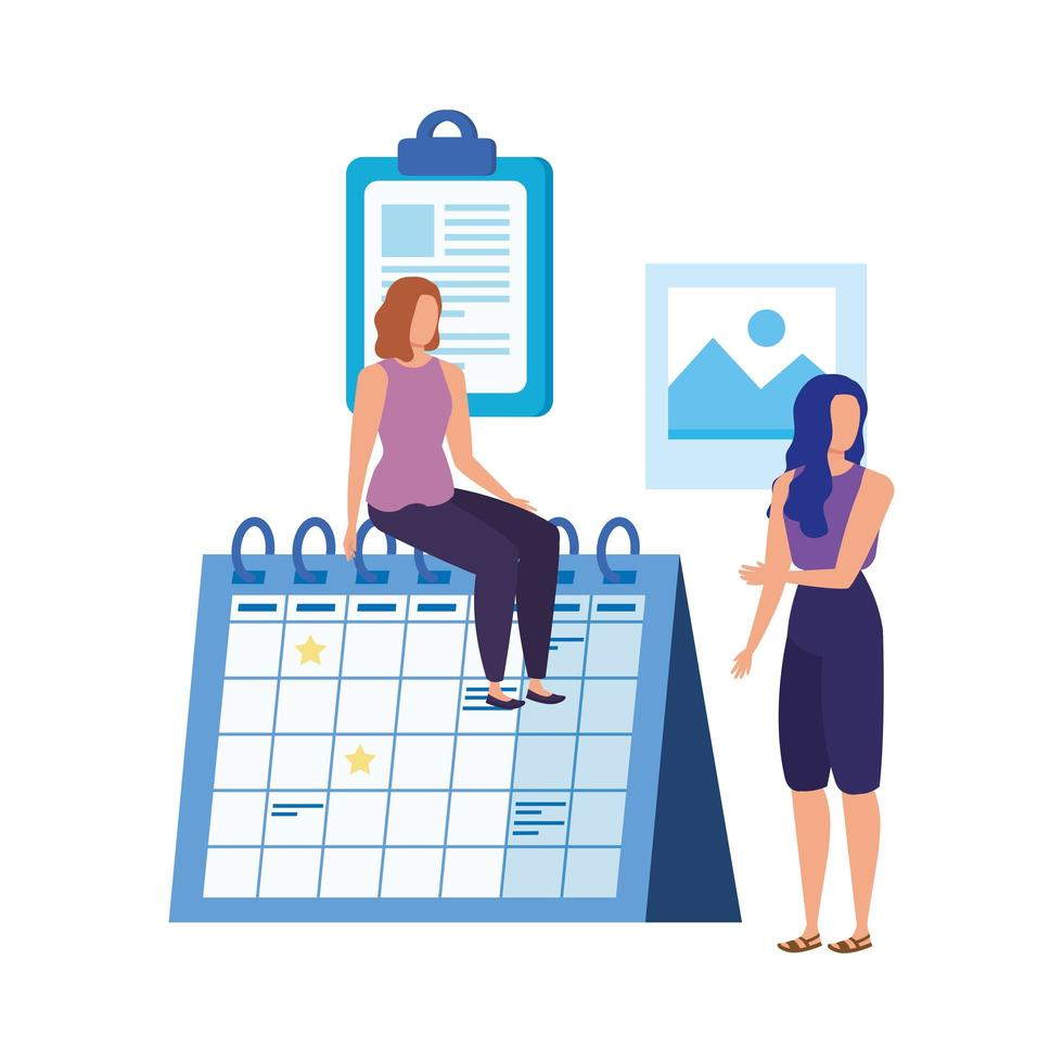 young women with calendar characters vector