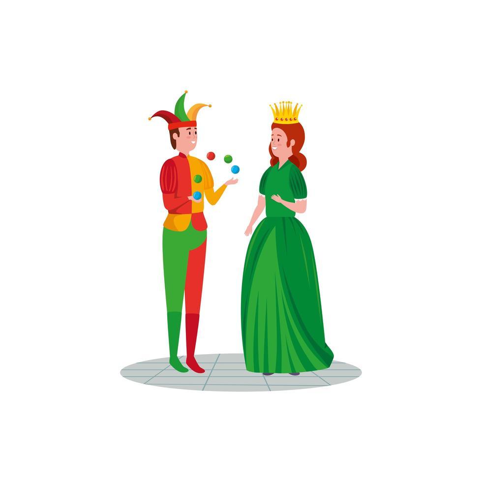 bromista con personaje de princesa cuento de hadas vector