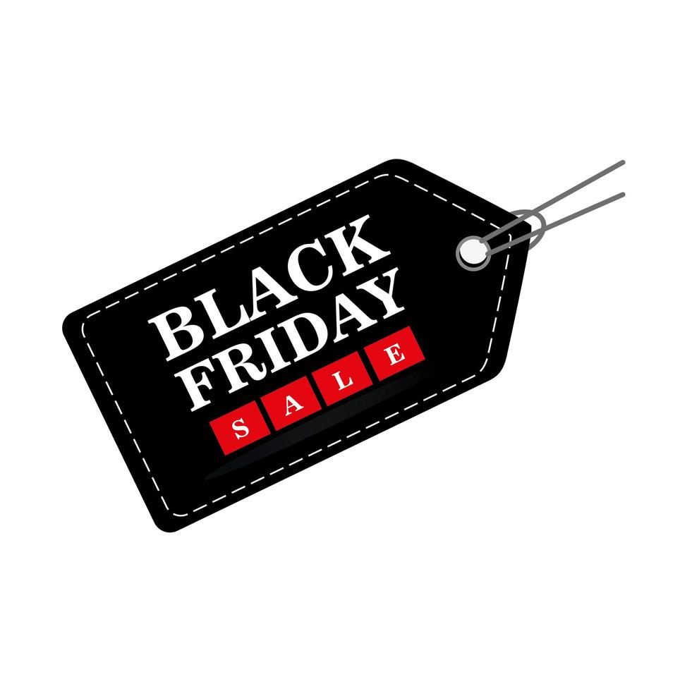 black friday sale lettering in tag vector