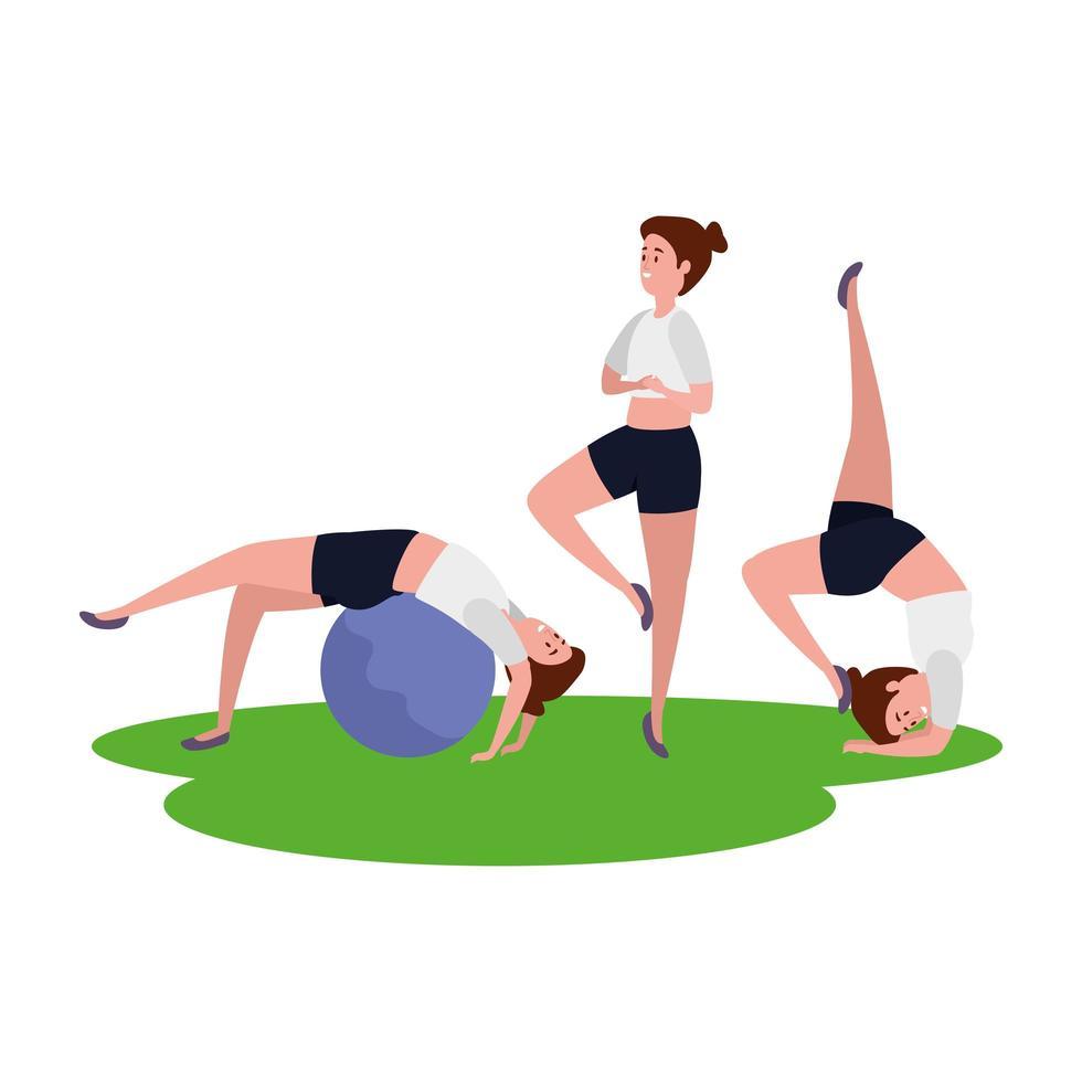 Grupo de niñas practicando pilates con globo en pasto vector