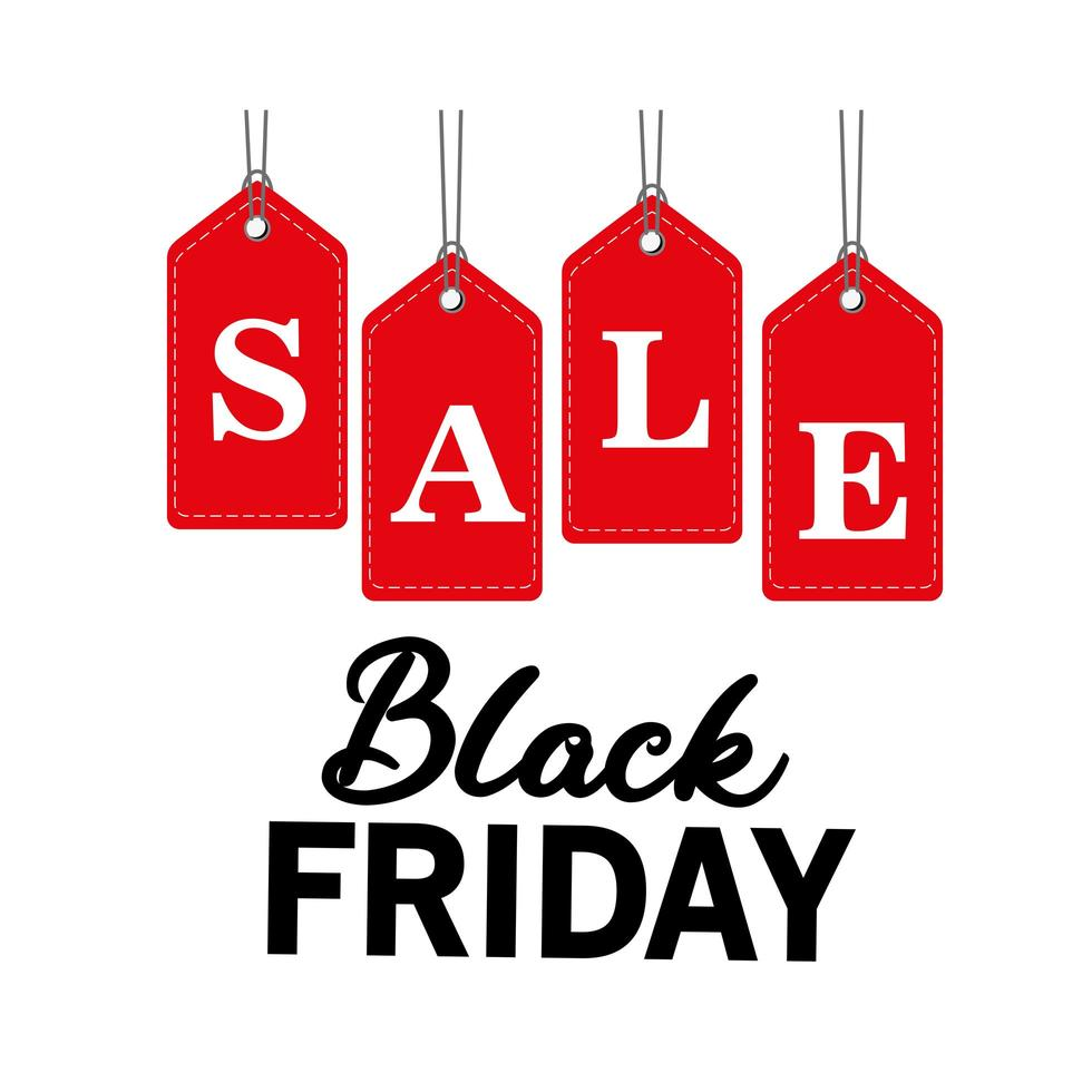 black friday sale lettering in tags hanging vector